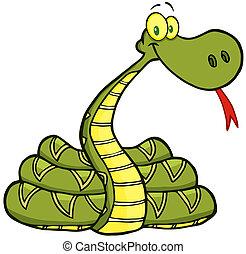 betű, kígyó, karikatúra