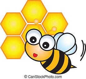 betű, karikatúra, méh