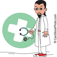 betű, karikatúra, orvos