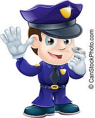 betű, karikatúra, rendőr, illustr