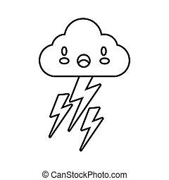 betű, komikus, ég, thunders, felhő, kawaii, mód, megrohamoz, elektromos megtölt