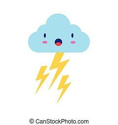 betű, komikus, ég, thunders, lakás, felhő, kawaii, mód, megrohamoz, elektromos