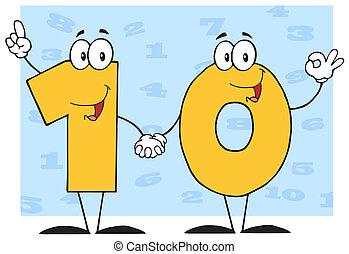 betű, szám, tíz, karikatúra