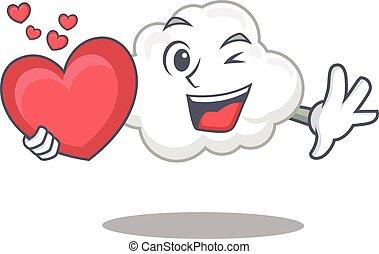 betű, szív, kellemes, fehér, karikatúra, felhő, mód