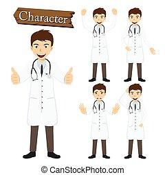 betű, vektor, állhatatos, ábra, orvos