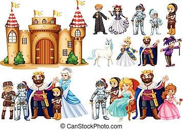 betűk, fairytale, bástya, épület