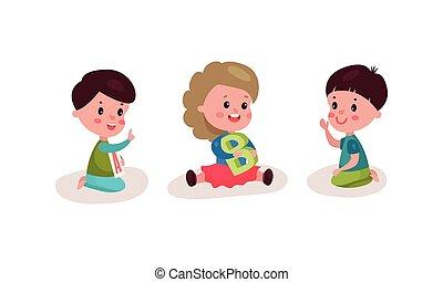 betűk, gyerekek, emelet, ülés, állhatatos, vektor, ábra, kevés, abc, játék