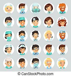 betűk, orvosok, karikatúra, set2, ikonok