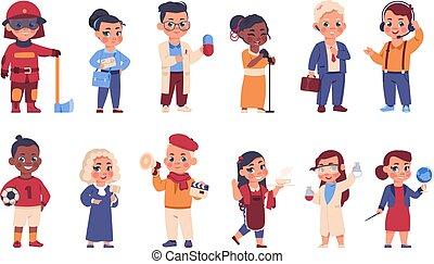 betűk, tűzoltó, jókedvű, fiatal, hord, válogatott, díszkíséretek, vektor, különböző, gyerekek, uniform., jelmezbe öltöztet, occupations., orvos, bíró, vagy, postás, állhatatos, karikatúra, gyerekek, profession.