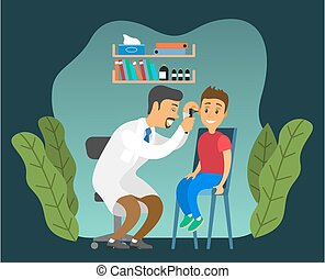 betűk, vizsga, child., orvos, kölyök, lát, otolaryngologist, orvosi