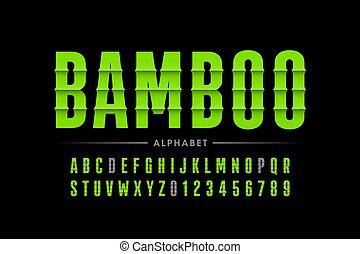 betűtípus, bambusz, mód