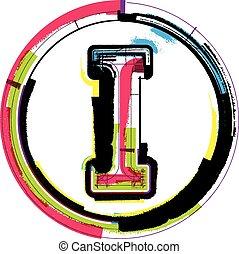 betűtípus, grunge, színes, levél