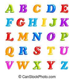 betűtípus, letters., elszigetelt, collection., 3, ábécé, creative., abc