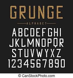 betűtípus, nyomdászat, szüret, csattan, abc, typeface., grunge, scratches., textured, design.