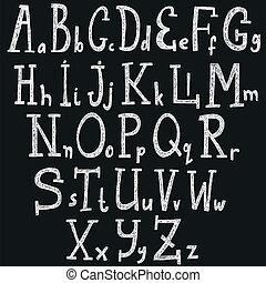 betűtípus, vektor, -, abc, ábra
