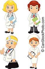 betegápolók, állhatatos, karikatúra, gyűjtés, orvosok