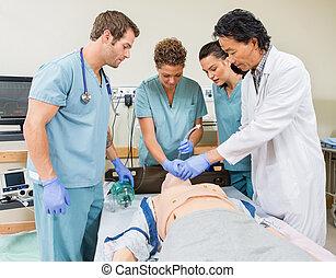 betegápolók, kórház, oktató, szoba, orvos
