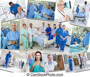&, betegápolók, kórház, türelmes, orvosok, idősebb ember