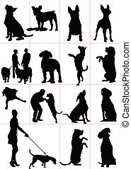 beteg, kutyák, állhatatos, vektor, silhouette.