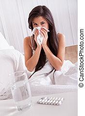 beteg, nő, influenza, hideg, ágy