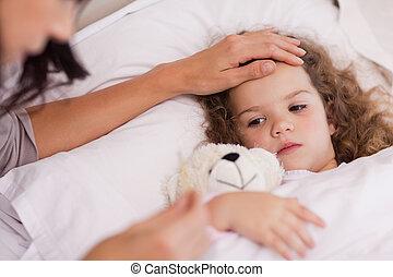 beteg, neki, lány, anya, kibír törődik