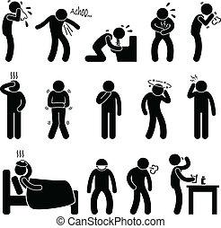 betegség, betegség, tünet, betegség