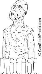 betegség, ember, rajzol