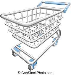 bevásárlás, ábra, kordé, vektor, targonca, fényes