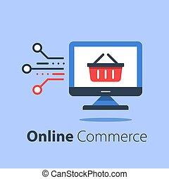bevásárlás, élelmiszerbolt, monitor, online, számítógép, internet, kosár, megvásárol