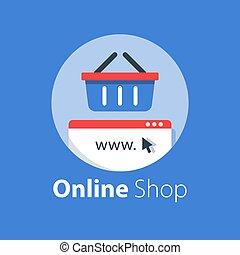 bevásárlás, élelmiszerbolt, online, internet, kosár, megvásárol