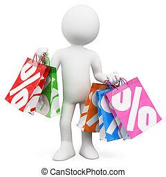 bevásárlás, értékesítések, emberek., 3, fehér