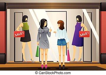 bevásárlás, ablak, elülső, ruhabolt, nők