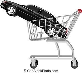 bevásárlás, autó, -, kordé, fekete, autó, vásárlás