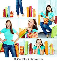 bevásárlás, boldog