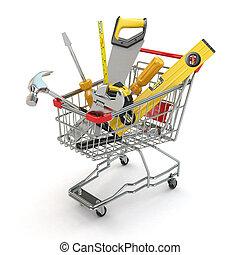 bevásárlás, e-commerce., eszközök, kordé