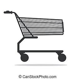 bevásárlás, elszigetelt, kordé, vektor, háttér, fehér, ikon