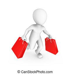 bevásárlás, emberek., kiárusítás, kicsi, concept., 3