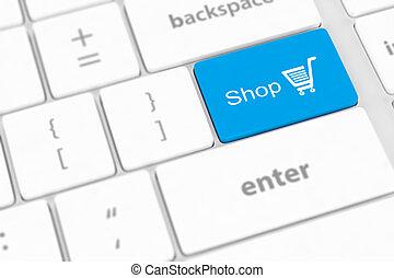 bevásárlás, gombol, billentyűzet, kulcs, beír, fehér