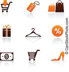 bevásárlás, gyűjtés, ikonok