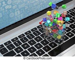bevásárlás, ikonok, rendering., laptop., kordé, alkalmazás, szoftver, 3