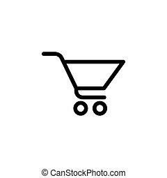 bevásárlás, jelkép, ábra, vektor, kordé, (sign), ikon