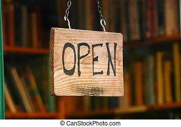 bevásárlás, kép, aláír, ablak, könyv, kiskereskedelem, nyílik, bolt