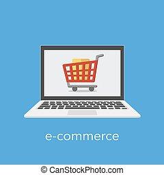 bevásárlás, kereskedelem, kelet, kordé, fogalom, laptop, screen.