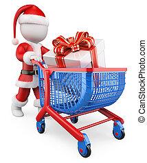 bevásárlás, klaus, szent, karácsony, emberek., fehér, 3, tehetség
