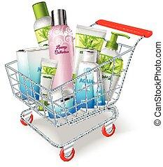 bevásárlás, kozmetikum, kordé