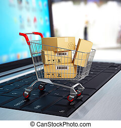 bevásárlás, laptop., kordé, dobozok, e-commerce., kartonpapír, 3