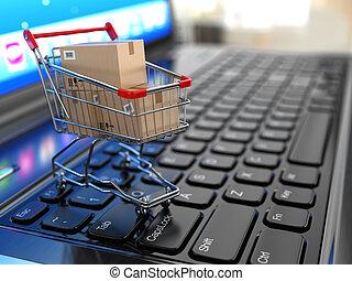 bevásárlás, laptop., kordé, dobozok, e-commerce., kartonpapír