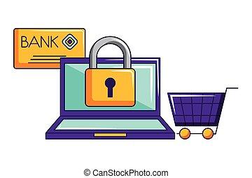 bevásárlás, laptop, kordé, hitel, online, biztonság, kártya