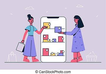 bevásárlás, megvásárol, fogalom, online, internet