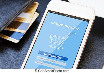 bevásárlás, mozgatható, fogalom